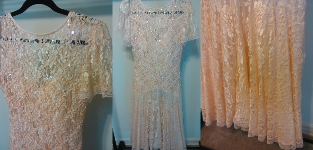 Peach Lace Dress Size (10 ) $25.00